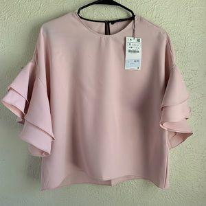 Zara Blush Pink Ruffle Sleeve Top